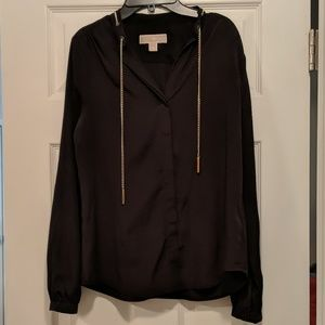 Michael Kors black blouse with gold chain